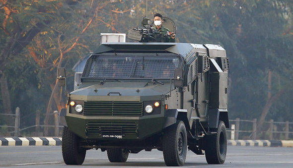 An armoured vehicle manufactured by Israeli company Gaia Automotive Industries in use in Myanmar. Photo: Getty