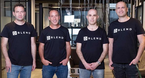 """חברת בלנד. מימין: אורן יגב, ירון קאופמן, המנכ""""ל יאיר טל וליאור ליבמן"""