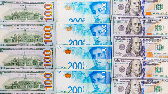 שטרות דולרים ושקלים, צילום: שאטרסטוק