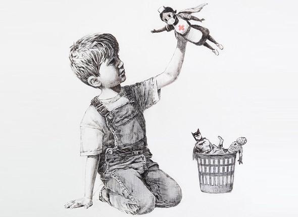 היצירה של בנקסי, ציור: Banksy