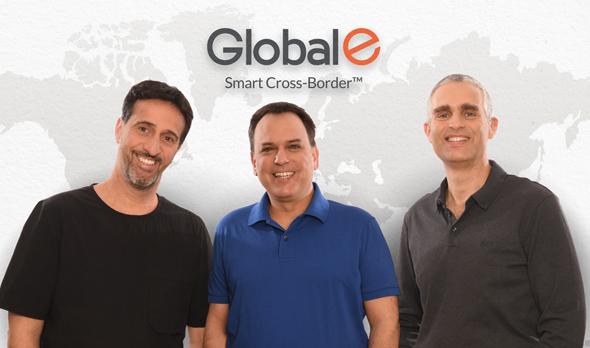 Global-e co-founders Amir Schlachet (from right), Shahar Tamari, and Nir Debbi. Photo: Courtesy