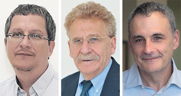 מימין:  פרופ' נתן זוסמן, פרופ' יוסף אדרעי ופרופ' אסף לחובסקי