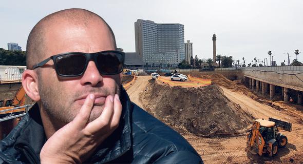 צחי נחמיאס ומתחם הכרמלית מול הטיילת בתל אביב. תנופת הפיתוח כבר מורגשת