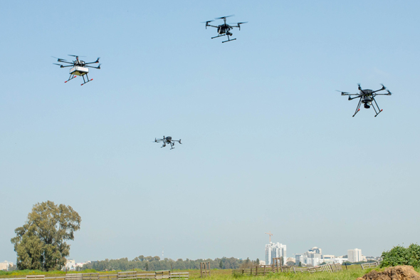 Delivery drones in a test flight above Hadera. Photo Zvika Goldstein