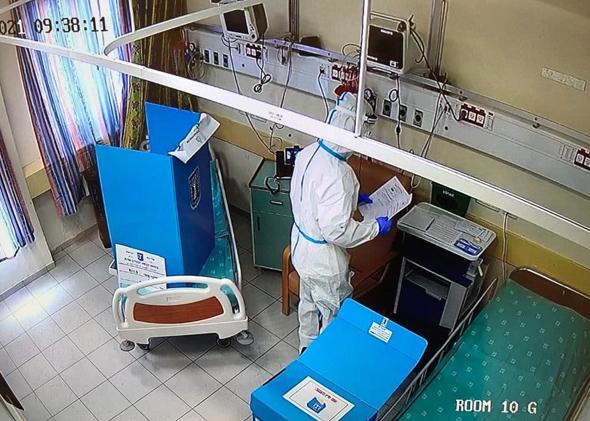 קלפי בבית החולים אסף הרופא, צילום: ועדת הבחירות המרכזית