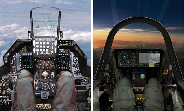 ככה נראית קפיצת דור: משמאל נמצא הקוקפיט של ה-F16A, ולידו זה של ה-F35