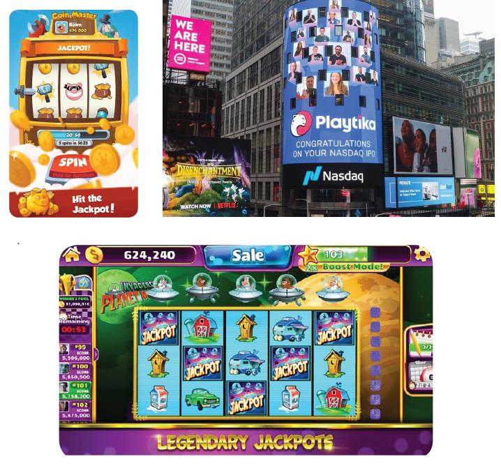 """מימין למעלה עם כיוון השעון: שלט חוצות בניו יורק ביום הנפקת פלייטיקה בנאסד""""ק והמשחקים Jackpot Party של SciPlay ו־Coin Master של מון אקטיב הישראלית"""