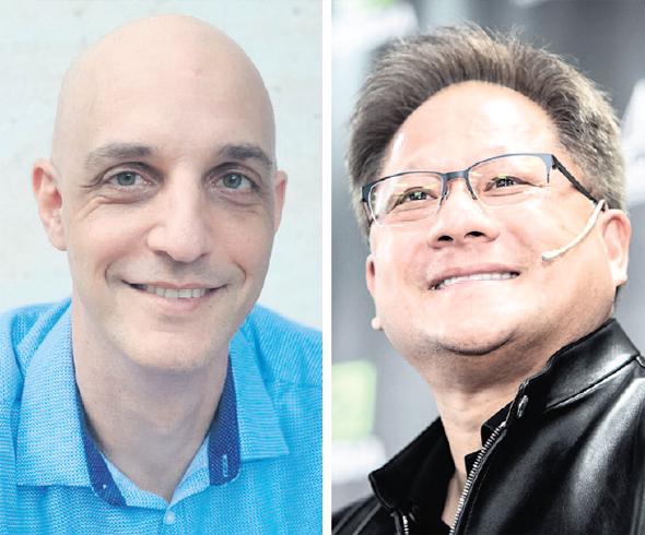 Nvidia's head of Israel HR Gideon Rosenberg (left) and CEO Jen-Hsun Huang. Photo: Gil Nachoshtan