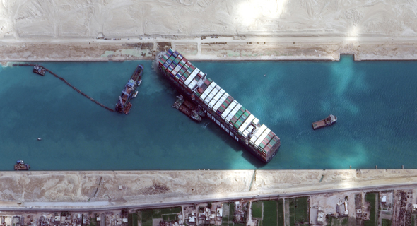 האונייה Ever Given שנתקעה בתעלת סואץ, צילום: רויטרס