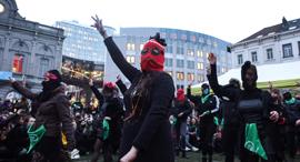 בריסל בלגיה מפגינים לרגל יום האשה, צילום: איי אף פי
