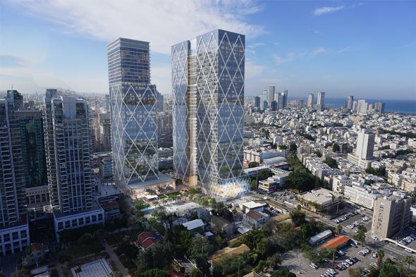 הדמיה  מגדל מגדלים של מליסרון אפי נכסים ב מתחם שרונה דירות למגורים, הדמיה: ישר אדריכלים