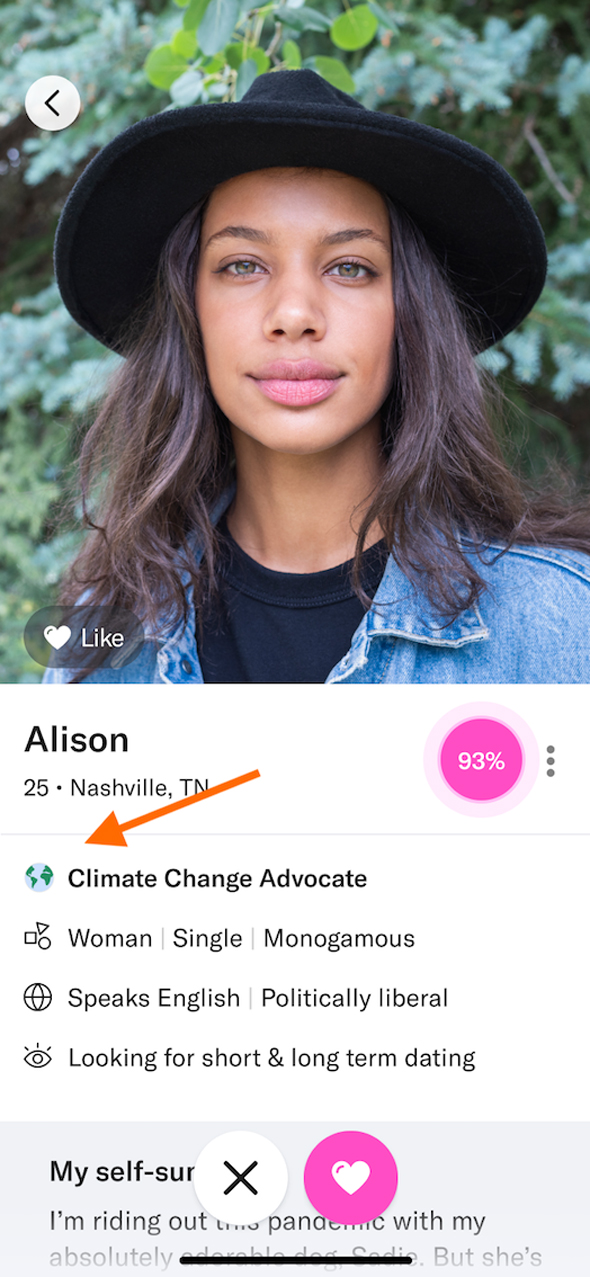 The badge is somewhat of a turn-on for young people. Photo: OkCupid