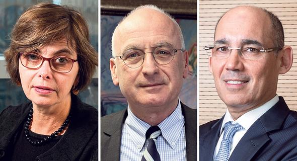 מימין: נגיד בנק ישראל אמיר ירון, המפקח על הבנקים יאיר אבידן והממונה על התחרות מיכל הלפרין
