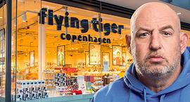 הראל ויזל על רקע סניף חנות רשת פליינג טייגר Flying Tiger Copenhagen  מתנות גאדג'טים מכשירי כתיבה, צילום: דימה טליאנסקי, שאטרסטוק