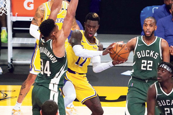 An NBA game between the Los Angeles Lakers and Milwaukee Bucks. Photo: USA Today Sports