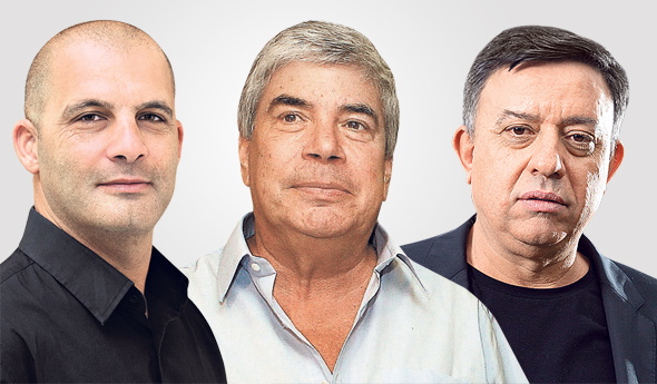 מימין אבי גבאי עמי אראל ו צחי נחמיאס, צילומים: אוראל כהן, אלכס קולומויסקי, ורד פיצ׳רסקי