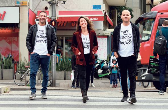 HoneyBook co-founders Oz Alon (right), Naama Alon (center) and Dror Shimoni. Photo: Amit Shaal
