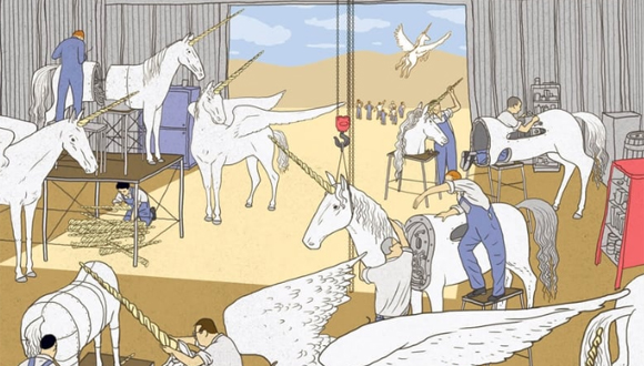 Israel has become an assembly line for tech unicorns. Illustration: Yizhar Cohen