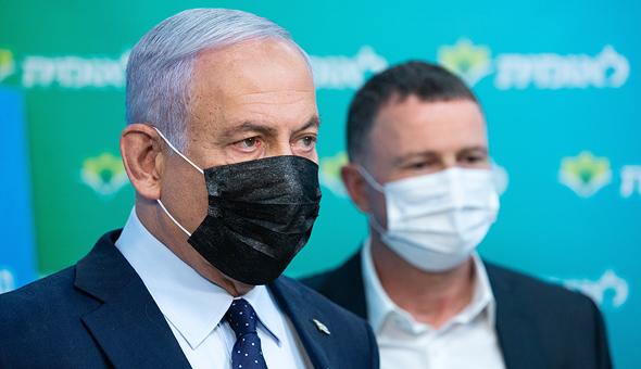 מימין יולי אדלשטיין ו בנימין נתניהו בסיור ב קופת חולים לאומית ב יד שרה ב ירושלים, צילום: אלכס קולומויסקי