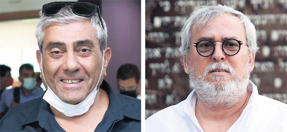 מימין: נחום ביתן ו יגאל דמרי שלשום, בבית המשפט, צילומים: עמית שעל