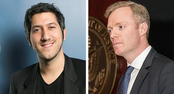 """מימין: הממונה על התחרות במשרד המשפטים האמריקאי, ריצרד פאוורס, ומייסד ומנכ""""ל טאבולה אדם סינגולדה"""
