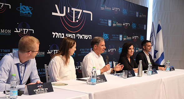 Stibbe (center) speaks to the media during a panel announcing the chosen experiments on Wednesday. Photo: PR