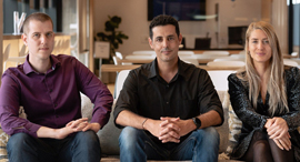 The Microsoft for StartUps Team, Meital Shamia, Raz Bachar, and Amit Svarzenberg. Photo: Microsoft