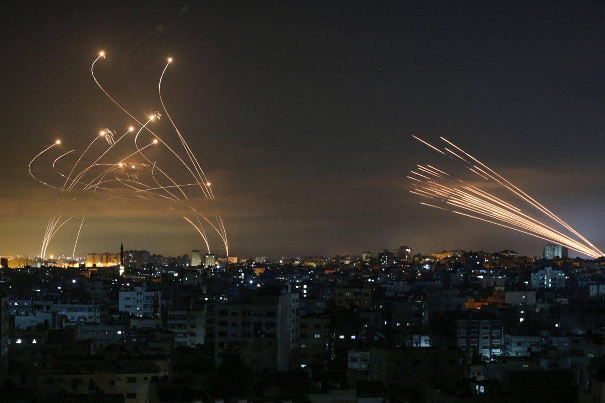 Rockets being intercepted from Gaza. Photo: AFP