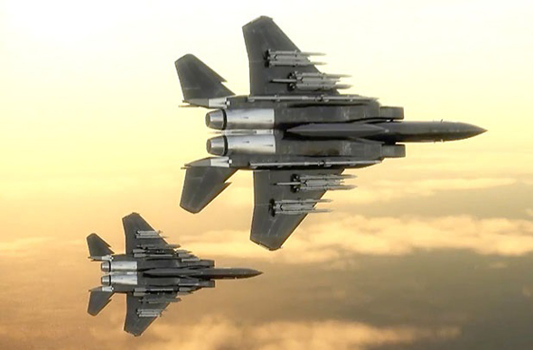 F15EX מתוך וידאו הדגמה של בואינג. חדי העין ישימו לב שהוא נושא פה עשרים טילים