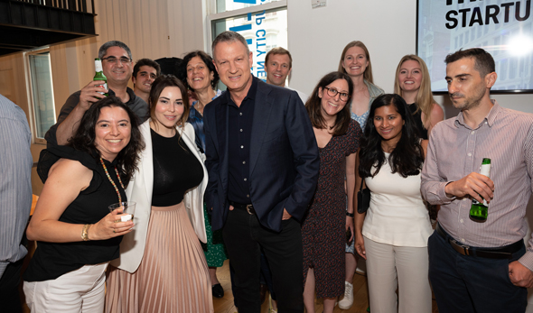 Erel Margalit (center) during Monday's event at the Margalit Startup City Center in New York. Photo: Nir Refaeli