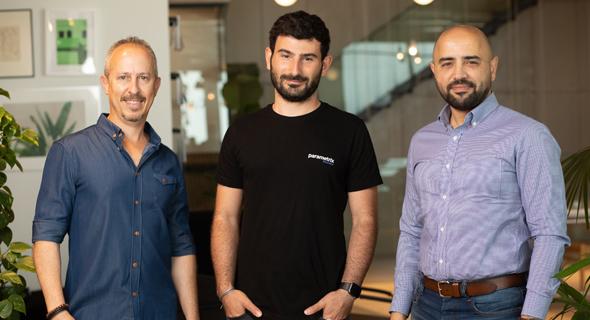 Diyaa Shridi (from right), CTO of Sompo Digital Lab TLV, Parametrix co-founder and CEO Yonatan Hatzor and Sompo Digital Lab Israel Head, Yinnon Dolev. Photo: Segev Orlev