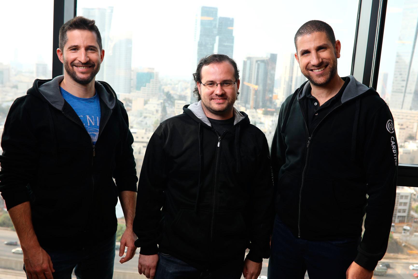 Carybne co-founders Amir Elichai (from right), Yony Yatsun and Alex Dizengoff. Photo: Avishai Finkelstein