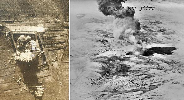 תצלומי אוויר של תקיפות סוללות סוריות במבצע ערצב 19