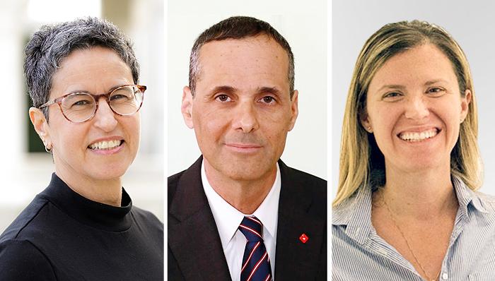 Startup+ judges Adi Gozes (from right), Tzahi Cohen and Yael Elad. Photo: Courtesy