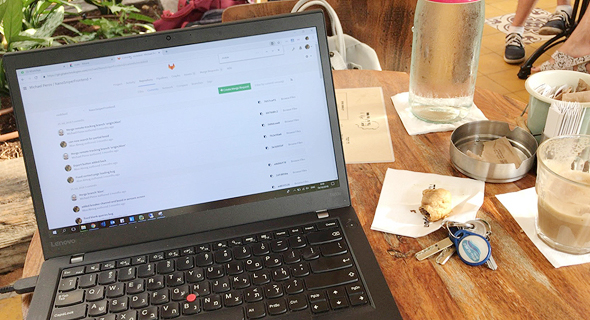Alon Almog at the cafe. Photo: Courtesy