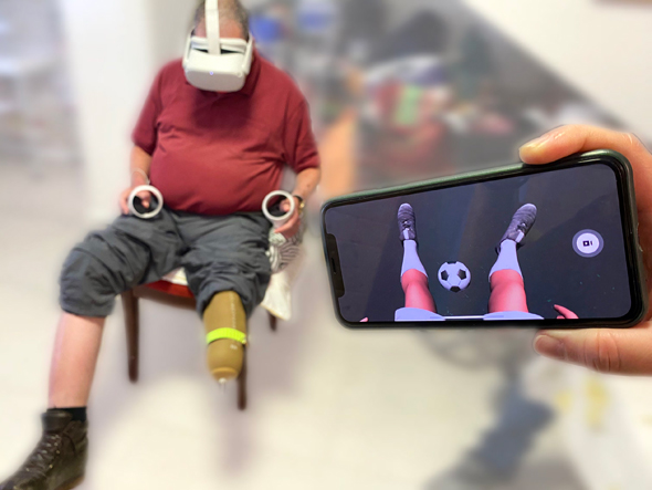 A disabled patient uses the MyMove+ device. Photo: 6Degrees