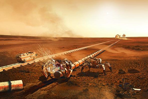 Helios '  La tecnología podría usarse para extraer oxígeno en otros planetas y ayudar a crear una base marciana (ilustración).  Foto: Haya Gold para Helios