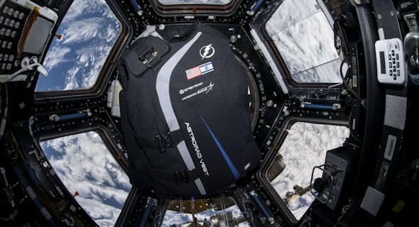 StemRad's AstroRad vest floating aboard the International Space Station. Photo: NASA/StemRad