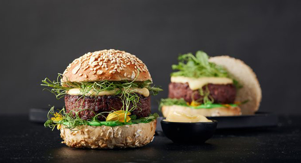 The Redefine Meat Burger, one of the many new items ready for order. Photo: Redefine Meat