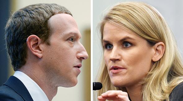 מימין העובדת לשעבר פרנסס הוגן ומייסד פייסבוק מארק צוקרברג, צילומים: רויטרס, אי פי איי