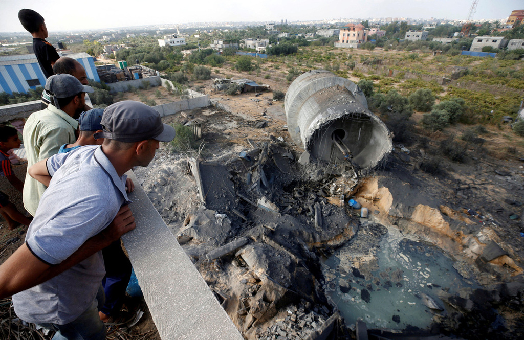 מגדל מים שנפגע ב רצועת עזה טיל טילים עוטף עזה