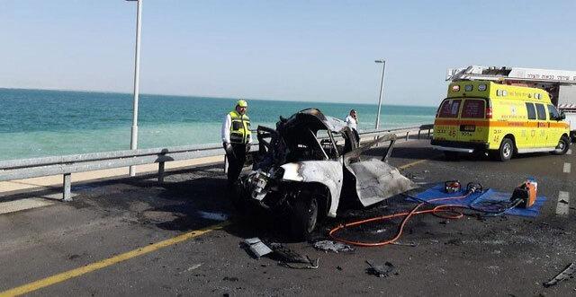 זירת תאונה סמוך לים המלח, צילום: דוברות כבאות מחוז דרום