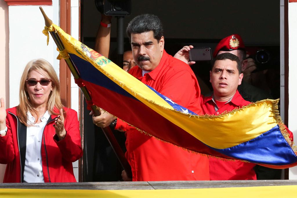 הנשיא ניקולאס מדורו במצעד הגנה של שלטונו קרקאס ונצואלה