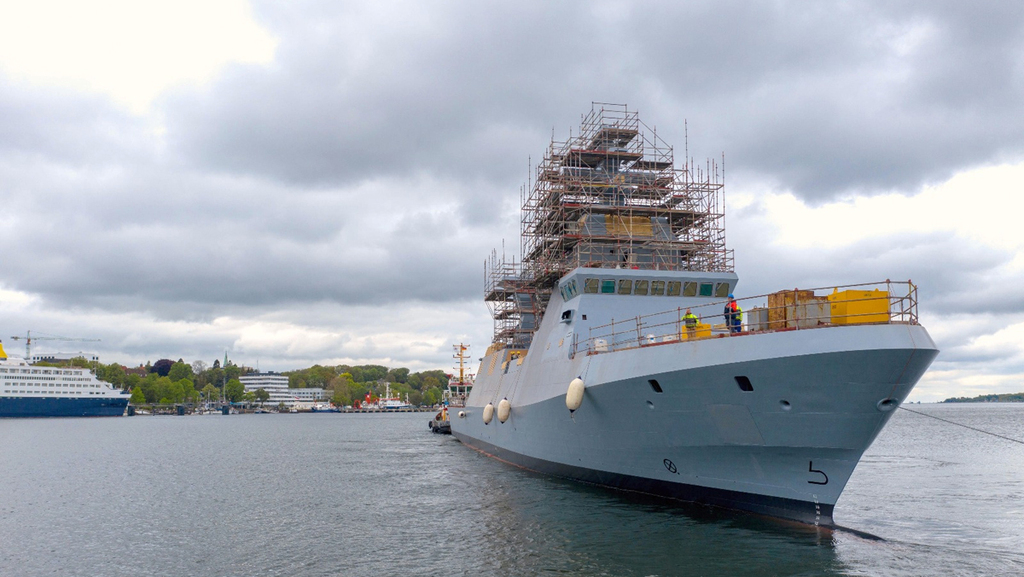 """ספינת הסער אח""""י מגן בשלבי בנייה מתקדמים ב מספנת טיסנקרופ"""