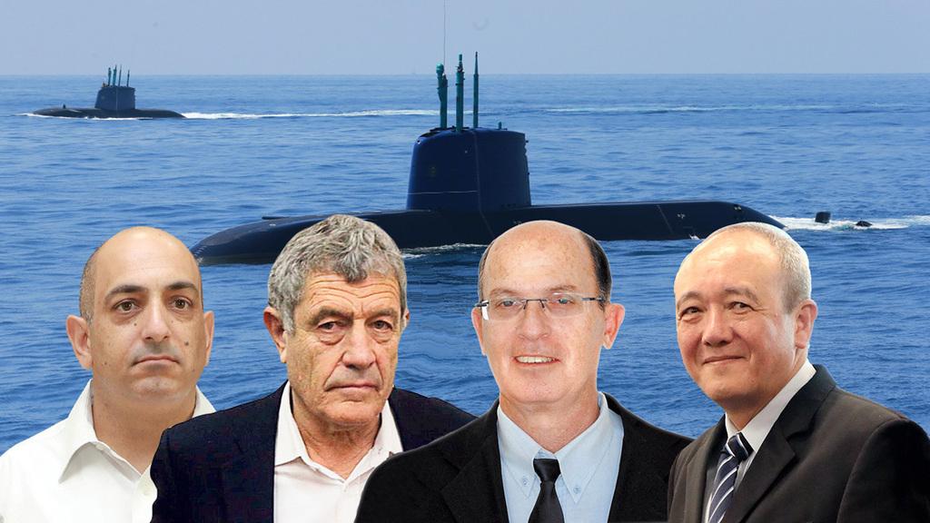 מימין אליעזר מרום צ'ייני אבריאל בר יוסף מיקי גנור ו דוד שרן מואשמים ב פרשת הצוללות