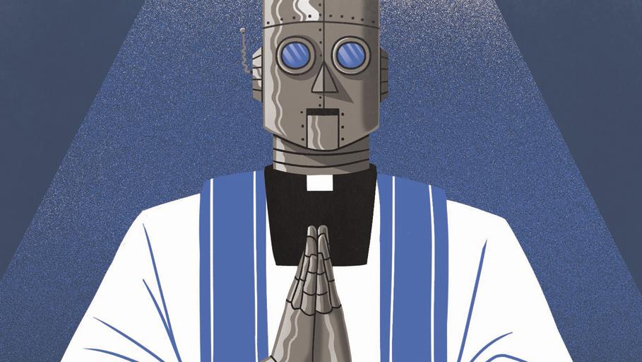 רובוט בינה מלאכותית דת אמונה נצרות איור ציור ונתן פופר