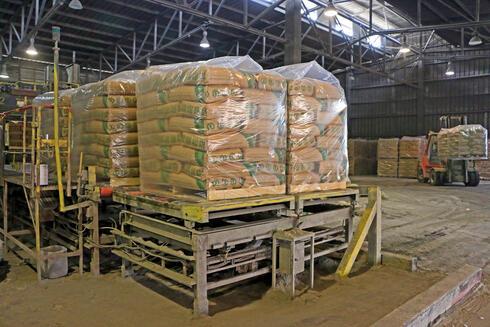שקי מלט במפעל נשר, צילום: דנה קופל