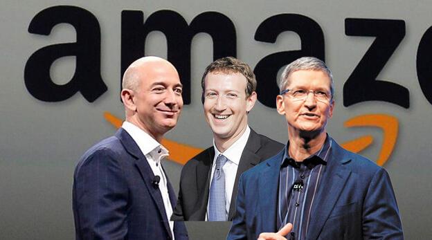 מימין מארק צוקרברג טים קוק ו ג'ף בזוס על רקע אמזון