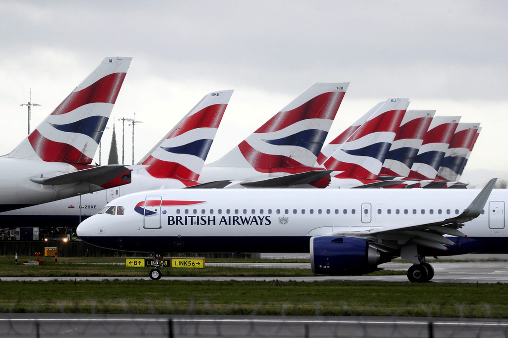חברת תעופה בריטיש איירווייז BA נמל תעופה הית'רו לונדון מרץ 2020
