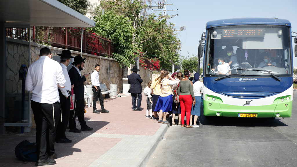 צפיפות תחבורה ציבורית קורונה מודיעין עילית